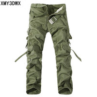New 2017 Men Cargo Pants Army Green Big Pockets Decoration Mens Casual Wash Trousers Male Autumn