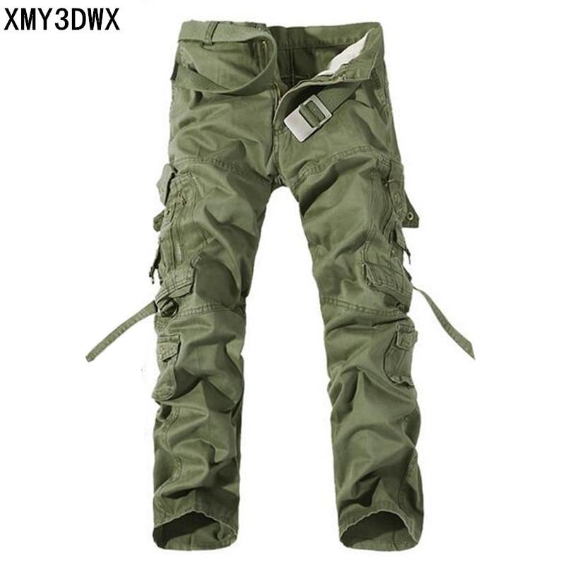 Új 2017 férfiak Cargo nadrág hadsereg zöld nagy zsebek dekoráció férfi Casual mosás nadrág férfi őszi hadsereg nadrág plusz méret 40
