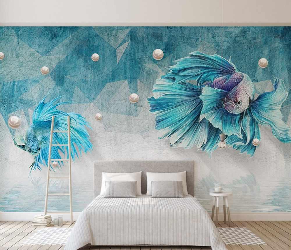 Gratis Pengiriman Kustom 3D Biru Tua Garis Abstrak Ikan Guppy Jewelery TV Latar Belakang Wallpaper Art.jpg q50