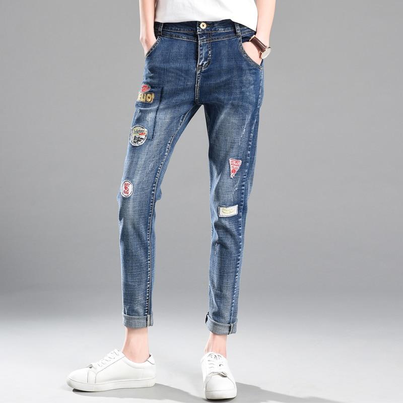 Autumn Winter Women Jeans Pencil Pants 2017 Jeans Harem Pants Loose size Jeans Cross Denim Trousers Loose Jean pants