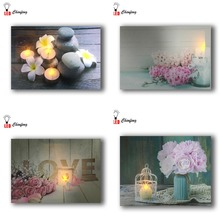 ФОТО spring flowers with candles light up led canvas printing wall art flicking painting for home decor framed ready to hang