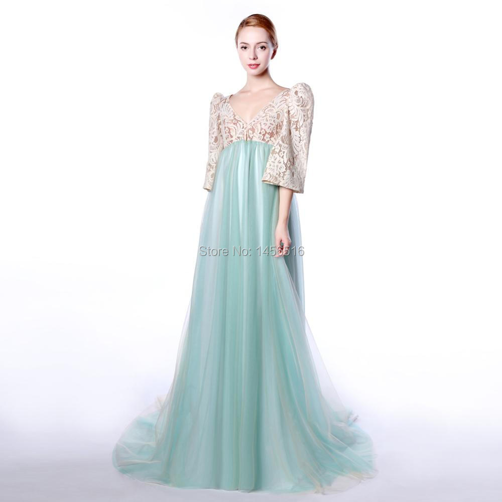 Menoqo New 2018 Real Formal Dresses Empire High Waist Puff Sleeve ...