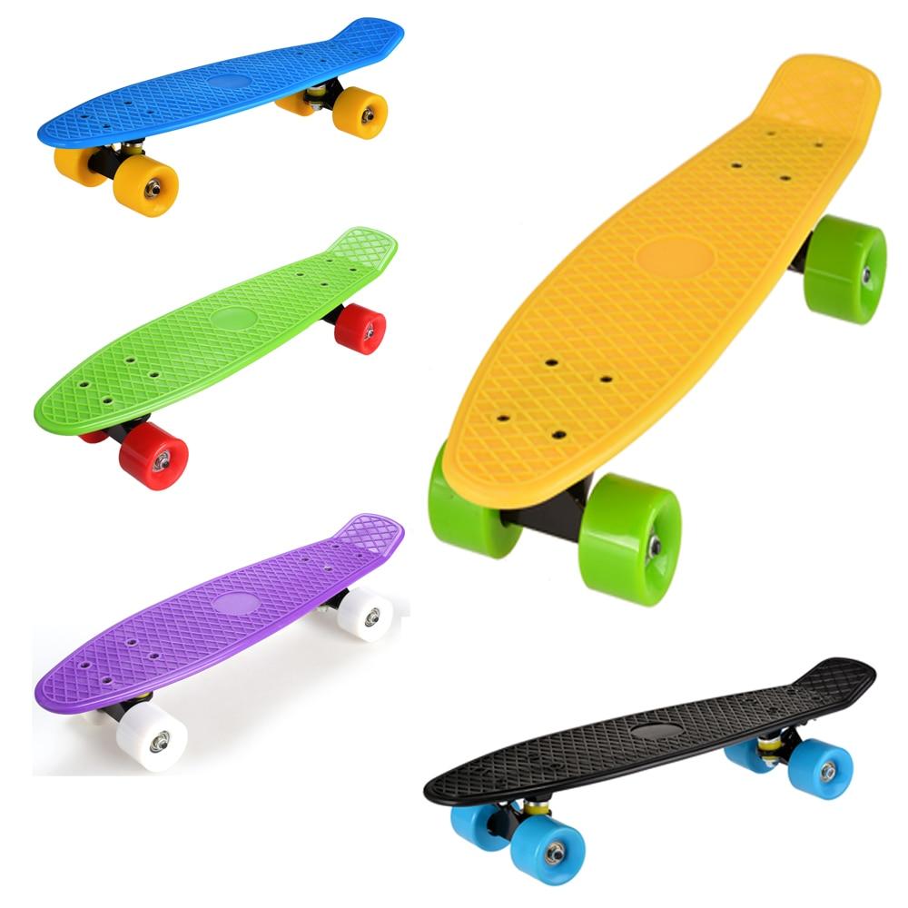 22 Zoll Longboard Räder Junge Mädchen Retro Style Skate Board Kunststoff Skateboardräder Mini Cruiser