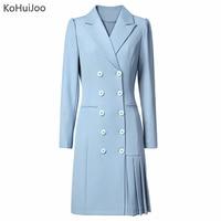 KoHuiJoo Fall Long Blazer Dress Women Double Breasted Elegant Ladies Office Pleated Dresses Runway Designers Dress High Fashion