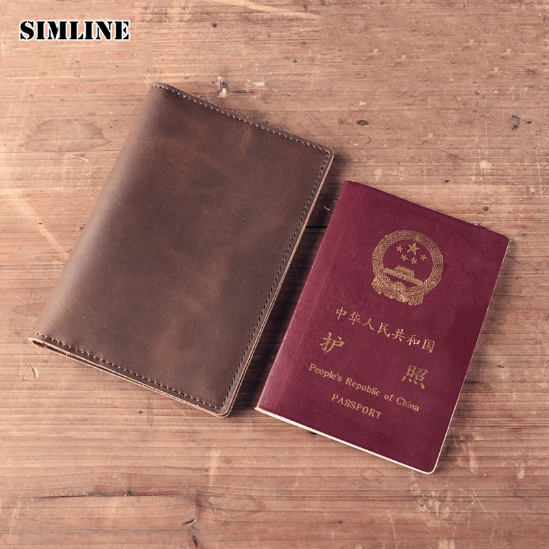 Brand Vintage Genuine Crazy Horse Leather Cowhide Mens Men Passport Cover Wallet Wallets Purse Card Holder Organizer For Women passport cover travel wallet document passport holder organizer cover on the passport women business card holder id