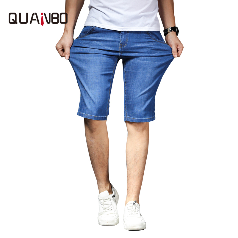 QUANBO 2019 Summer New Fashion Denim Shorts Men Slim Fit Sraight Smart Casual Cotton   Jeans   shorts Male Plus size Brand Clothing