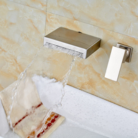 Nickel Brushed Solid Brass Bathroom Sink/ Tub Faucet Single Handle Hot and Cold Water Mixer Tap