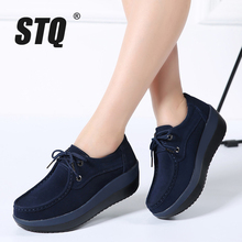STQ 2020 Autumn Women Flats Shoes Thick Soled High Platform Shoes Leather Suede Ladies Casual Shoes Lace Up Flats Creepers 3235