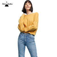 Misskoko Women T Shirts O Neck Long Sleeve Tees Loose Solid Yellow Casual Female Elegant Pullovers