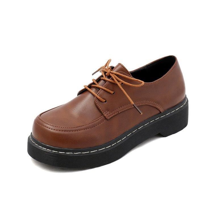 Zapatos Ocio De marrón Suela Negro Cuero Pequeños Único Las Cabeza La Británico Redonda Mujeres Viento Encaje Primavera Plana 2019 Academia 5ZBfqEwq