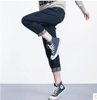 ФОТО Street Jeans Woman Jeans Fashion Elastic Blue Plus Size Women Mid Waist Casual Femme Cotton Harem Pants Loose Trousers 5XL