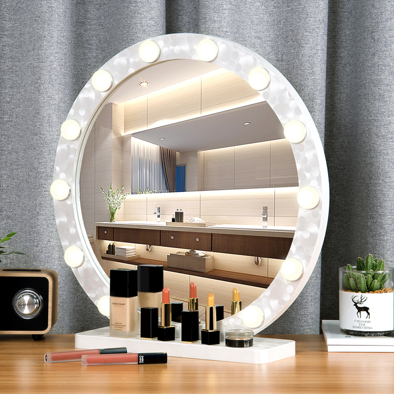 Round Large Makeup Mirror With Light Led Professional