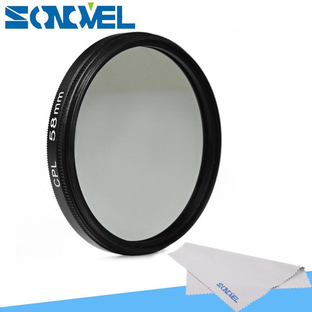 58mm polarizante circular CPL C-PL lente de filtro para Canon 1300D 800D 760D 750D 650D 600D 200D 80D 70D 77D 60D con 18-55mm lente