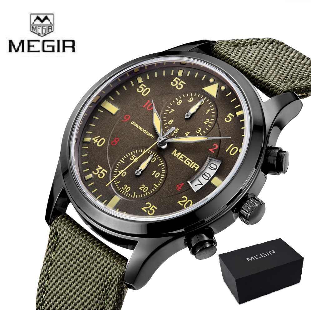8ab980ca6a6 Megir Clock Male Mens Watches Top Brand Luxury Green Quartz Watch Men Sport  Chronograph Wrist Watch
