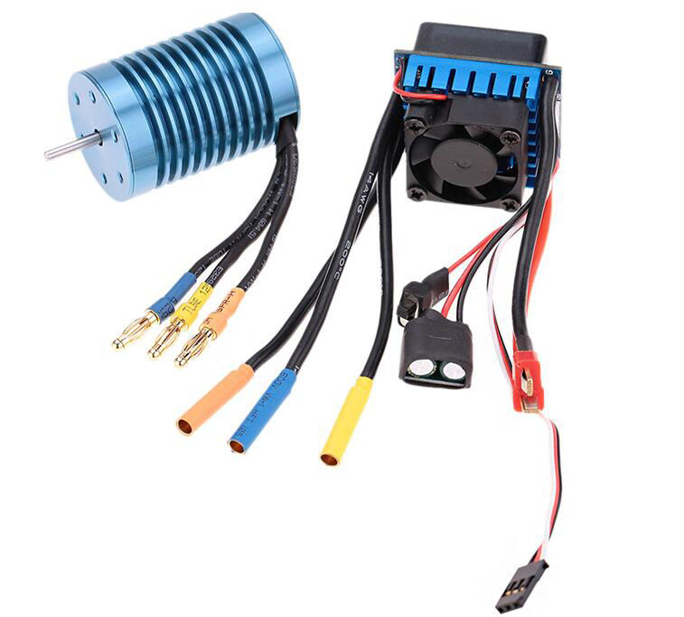 3650 4370KV sensorless brushless motor+ 45A ESC speed controller for 1/10 RC Buggy truck off-road car 3650 3900kv 4p sensorless brushless motor 60a brushless elec speed controller esc w 5 8v 3a switch mode bec for 1 10 rc car