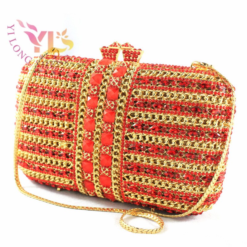 Women's Evening Bags Box Clutches 2017 SEVEN COLORS AVAILABLE Most Wanted Luxuriant Rhinestone Clutch Bags for Women YLS-G26