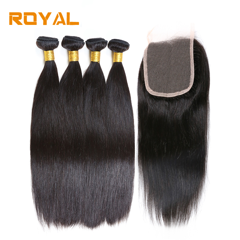 Bundles with Lace Closure Brazilian Straight Human Hair Wave 4 Bundles With Closure Royal Non Remy Hair Extensions