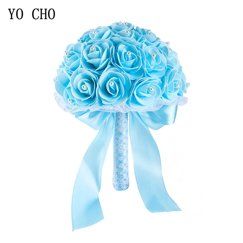 YO CHO Bridal Wedding Bouquet Artificial PE Rose Flower Fake Pearl Bouquet Blue Bridesmaid Marriage Wedding Supplies Decorations