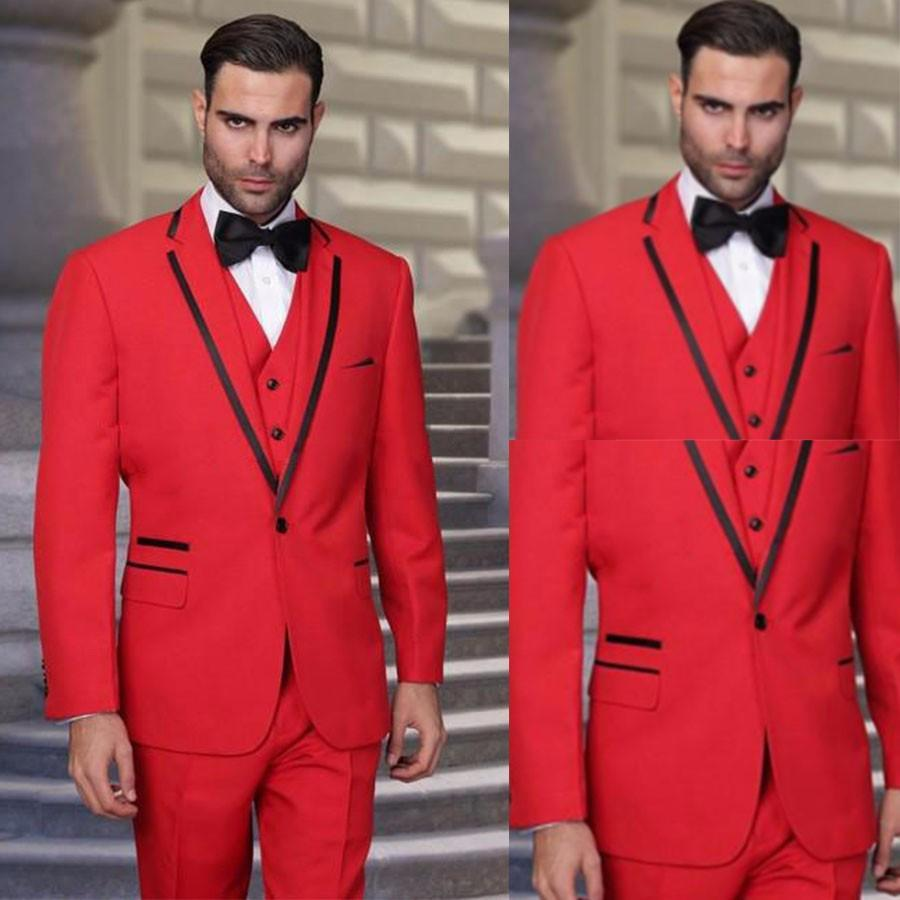 338688c2c US $59.24 25% OFF|2017 Latest Coat Pant Designs Red Men Suit Prom Wedding  Suits Slim Fit 3 Piece Groom Tuxedo Custom Party Blazer Terno Masculino-in  ...