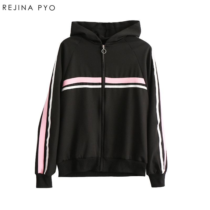 REJINAPYO Women Side Striped Jacket Coat Zippers Female Casual Hooded Thin Outerwear Cotton Breathable Jacket New Arrival