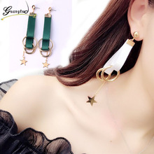 White/Green Multilayers Ribbon Geometric Circle Star Long Tassels Drop Earring For Women Fashion Jewelry Pendientes Brincos