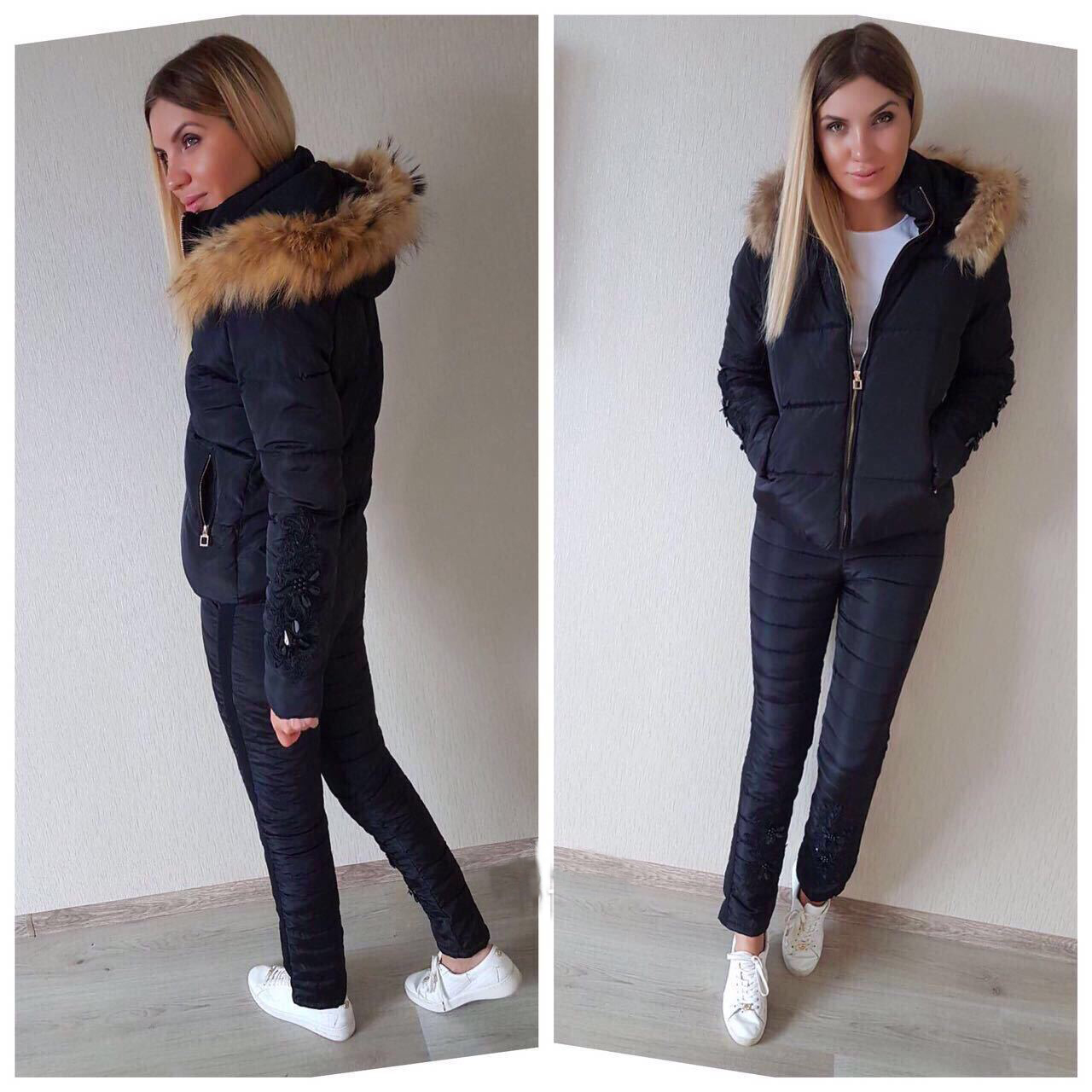 Elegant 2 Piece Sets Winter Solid Color Cotton Padded Suits Women Casual Embroidery Hooded Jacket Coat and Pants Warm Tracksuits in Women 39 s Sets from Women 39 s Clothing