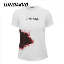 Summer New Fashion red blood Graffiti Print White Shirt Relaxed Simplicity Cotton T-shirts