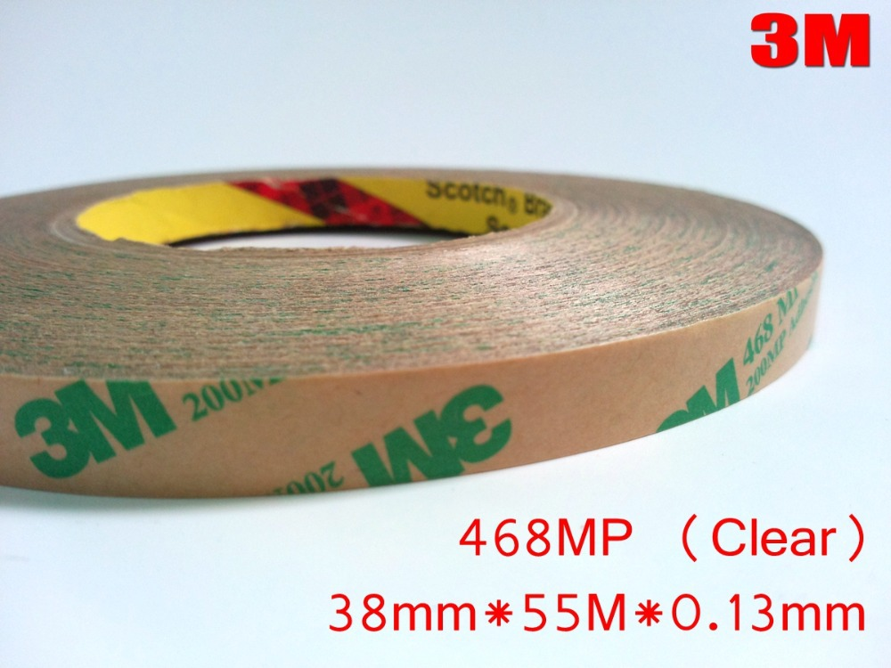 3M 468MP Clear (38mm*55M*0.13mm) 200MP Double Sided Pure Adhesive Film Tape, High Temperature Withstand for Automotive Appliance 3m 468mp 43mm 55m 0 13mm double sided adhesive tape 200mp metals paints wood bonding together for automotive appliance