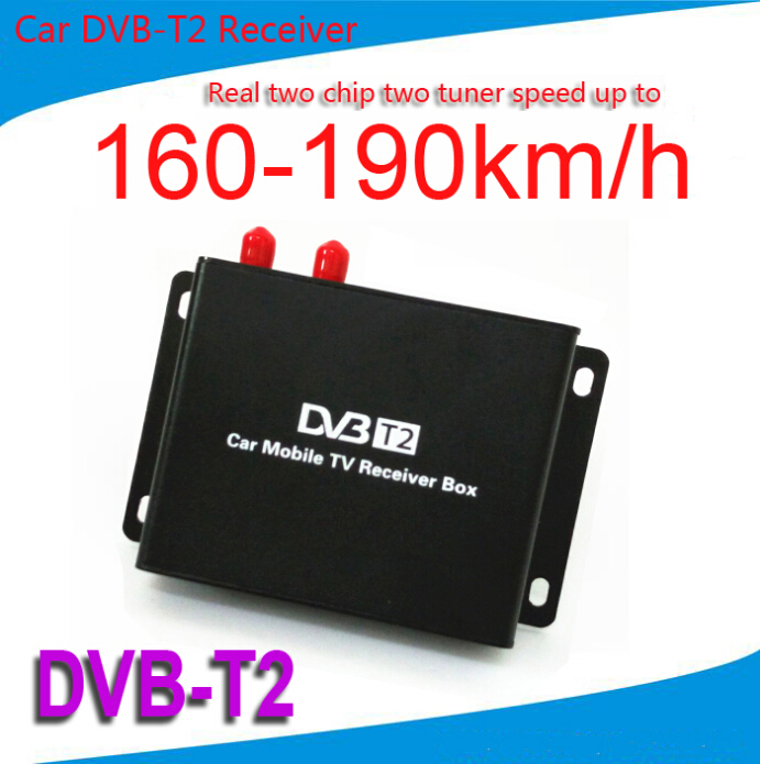 Mobile Car DVB-T2 160-190km/h Digital Car TV Tuner 2 Chip 2 Antenna MPEG2 MPEG4 AVC H.264 DVB T2 Car hot digital car tv tuner dvb t2 car tv receiver hdmi 1080p cvbs dvb t2 support h 264 mpeg4 hd tv receiver for car free shipping