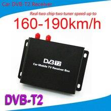 Móvil Del Coche DVB-T2 Coche Sintonizador de TV Digital 2 Chip de 160-190 km/h 2 Antena MPEG2 MPEG4 AVC H.264 DVB T2 Coche