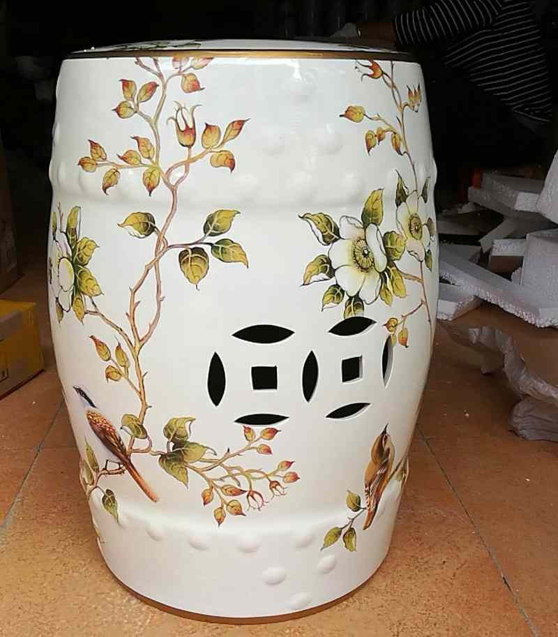 China elegant style home decorative antique drum ceramic garden stool decorative living room ceramic antique garden drum stool