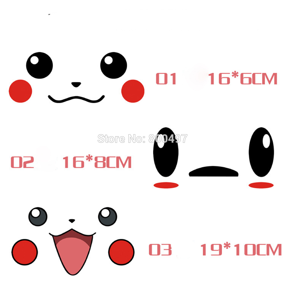 10 X Car Styling Lovely Cartoon Animal Pet Pikachu Pokemon Smile Face Sticker Decals For Toyota Peugeot Chevrolet Vw Ford Honda Low Price