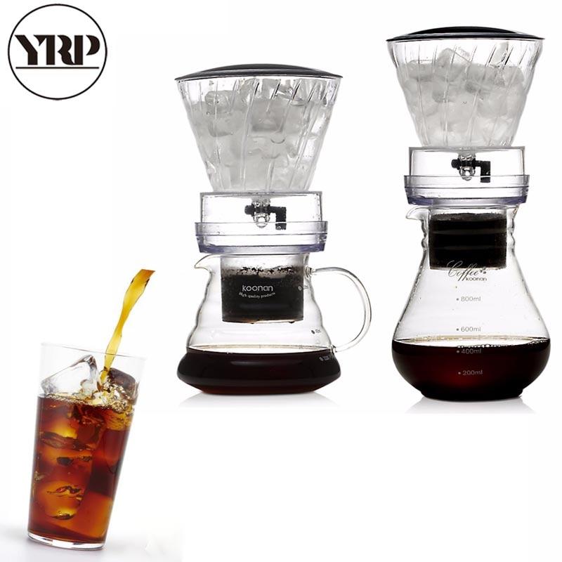 YRP800ml Reusable Ice Drip Coffee Filter Glass Percolators Espresso Kitchen BaristaTools Dripper Pot Ice Cold Brew Cafe Maker