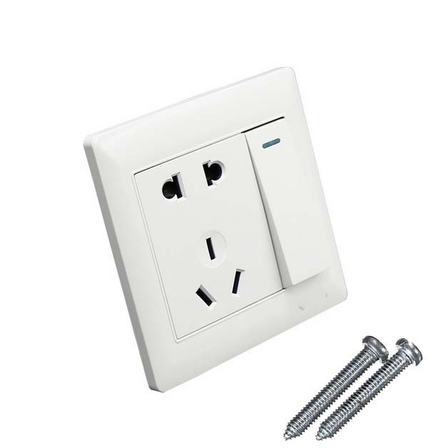 10A 3 Pin Power Single KEY Wall Outlet Switch Socket Plate Panel US ...