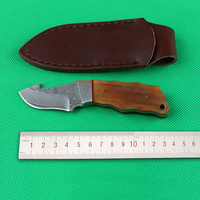 New Fixed Damascus Steel Blade Sharp Edges Camping Hunting Tactical Survival Knife With Horn Handle Outdoor