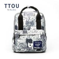 TTOU Design Cat Animal Printing Backpack Teenage Girls School Bag Women Backpack Travel Bag Large Capacity Can be Portable Bag