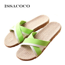 ISSACOCO New Women's Summer Cross-tied Linen Slippers Mixed Colors Hemp Flax Slippers Home Slippers Beach Slippers Zapatillas цена 2017