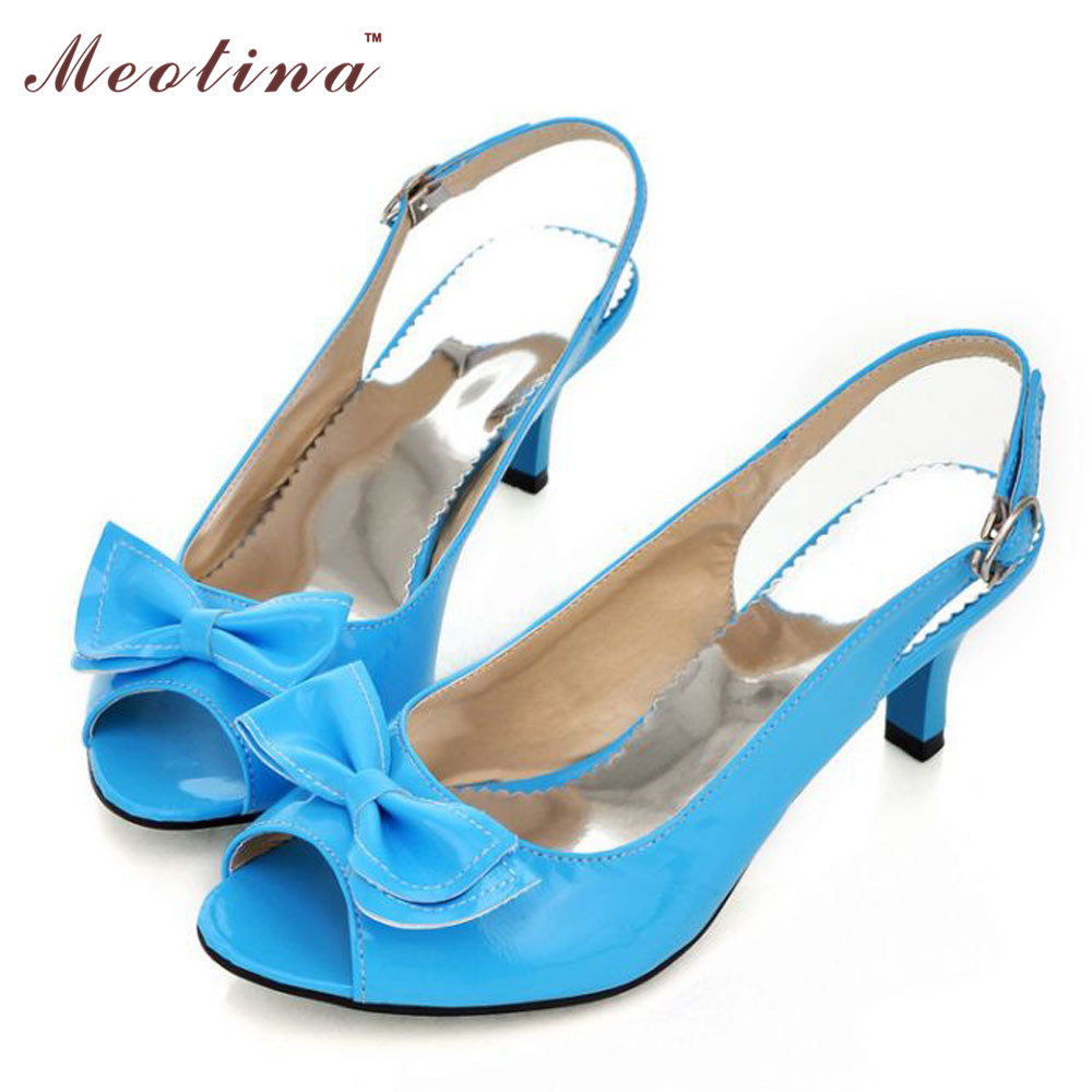 abd24db8238 Meotina Women Sandals Summer Shoes Woman Sandals Peep Toe High Heels Shoes  Bow Ladies Heel Sandals Yellow Large Size 11 12 45 46-in Women s Sandals  from ...