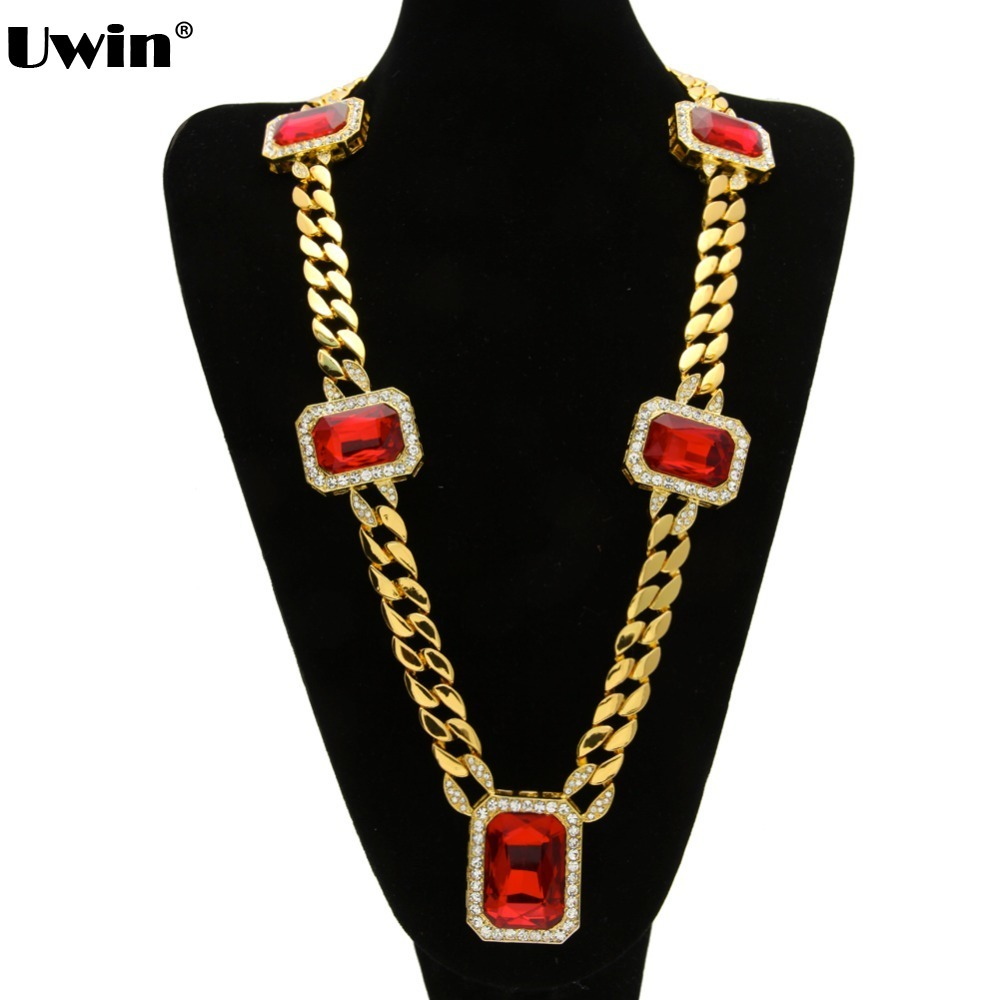 Mens Gold Thick Miami Cuban Curb Link Red Square Stone Pendant Chain Necklace Bling Chain&Link 2016 New Arrival Necklace