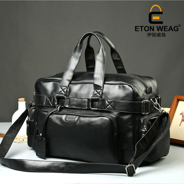 ETONWEAG Brands Cow Leather Duffle Bag Black Zipper Fashion Men Travel Bags Big Capacity Shoulder Bags Vintage Organizer Luggage 1