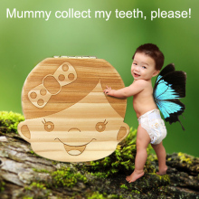 Baby Milk Tooth box Gift organizer save teeth Wood storage Collect umbilical cord lanugo Decor box kid Boy Girl Newborn 0-6 year
