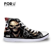 FORUDESIGNS Flats Vulcanized Shoes for Teen Boys Cool Skull Print Men Casual Sneakers High Top Men Canvas Shoes Zapatos Hombre