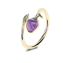 Fashion ladies Gold Color Plated Stone Rings Adjustable Ring for Women Fashion Jewelry Leaf Open Rings Love ring With Stone 2018 new rings with 5 colors 14 mm shell pearl for women ladies wholesale jewelry flower lotus leaf fashion crystal large ring