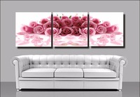Large Frameless Pink Roses Pictures DIY Painting By Numbers 3 Piece Canvas Paintings Home Decor Wall