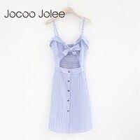 Jocoo Jolee 섹시한 스트라이프 여성 파티 드레스 끈이 목 활 레이스 디자인 비치 드레스 높은 허리 거리 착용 2018