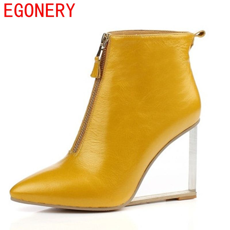 EGONERY woman fashion ankle boots side zipper modern pointed toe riding equestrian european and american style strange solid цены онлайн