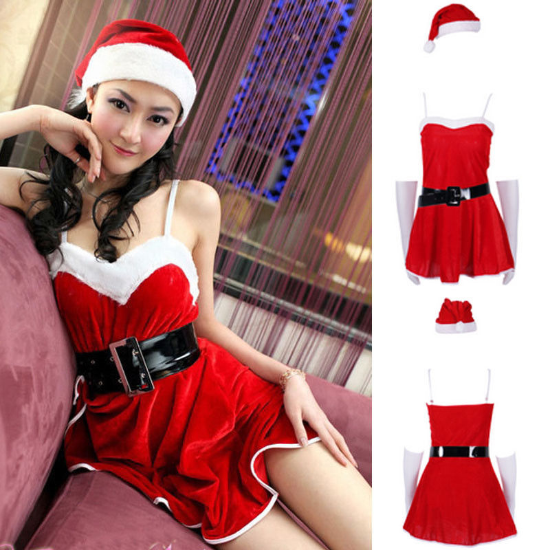 Newest Arrivals Fashion Hot Christmas Women's Sexy Santa Claus Costume Cosplay Party Outfit Fancy Dress