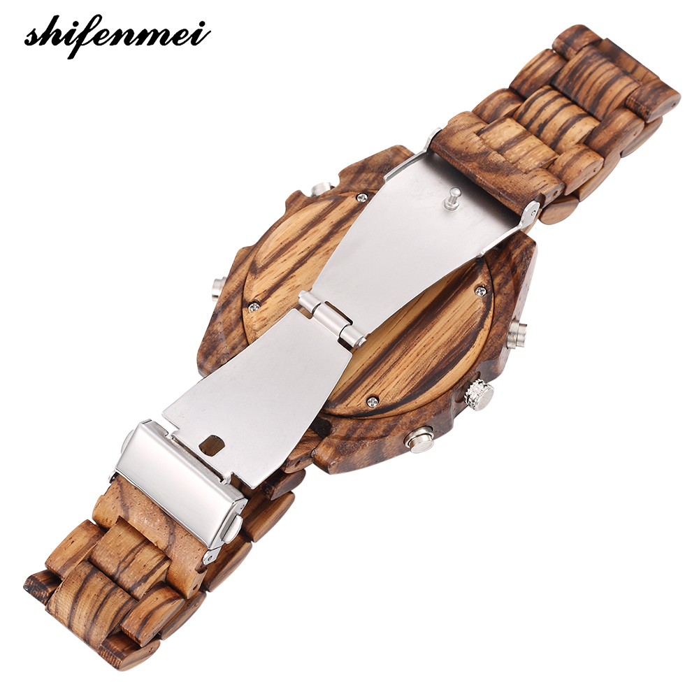 top luxury brand Shifenmei 2139 Antique Mens Zebra and Ebony Wood Watches with Double Display Business Watch in Wooden digital quartz watch drop shipping (26)