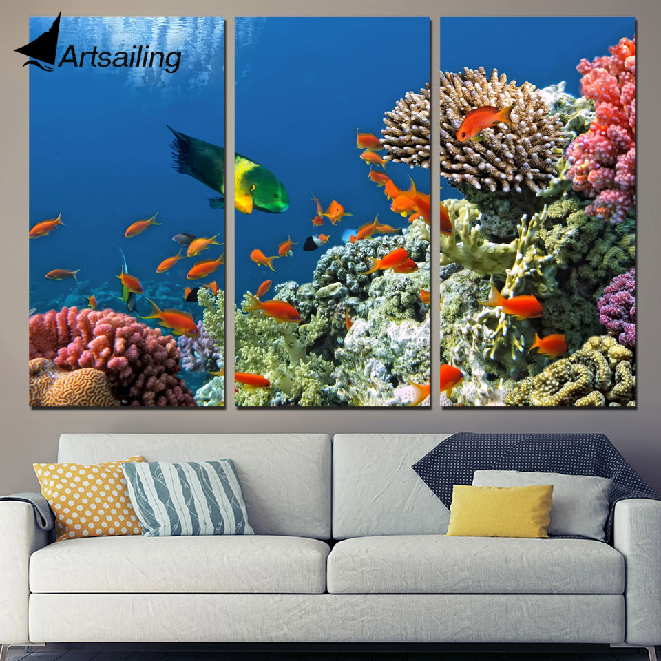 House Decoration Craft Kissing Fish Home Furnishings: 3 Panels Canvas Art Tropical Coral Reef Fish Home Decor