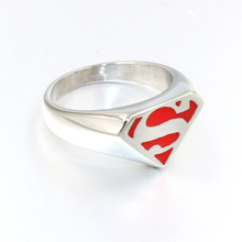 316L Stainless steel The new hot superman Silver Black Blue Red punk ring the men Women ring personality ring wholesale 2019 shiying jz014 men s stylish 316l stainless steel ring silver